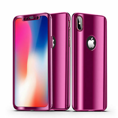 360° Shockproof Mirror Case For iPhone X 8 7 6s Plus 5 SE with Screen Protector