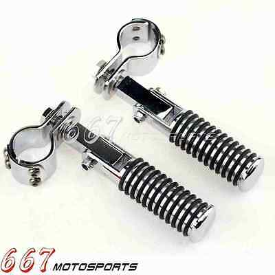 """Chrome 1-1/4"""" Highway Foot Pegs Footrest Engine Guard Mounts Clamps For Harley"""