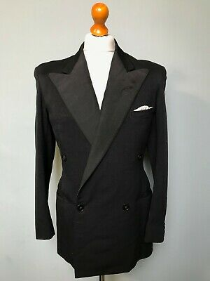 (059)  Vintage 1930's 1940's bespoke double breasted dinner jacket size 38