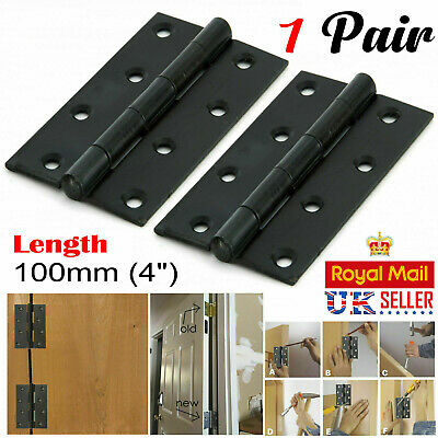 "Pair Of Large 4""/100mm BUTT HINGES HEAVY DUTY Strong Steel Country Door BLACK"