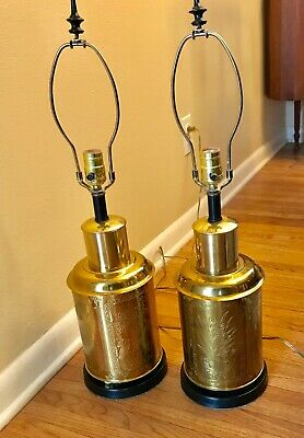 Vintage Pair of Brass Asian Tea Canister Table Lamps