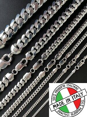 Mens Real Solid 925 Sterling Silver Miami Cuban Chain 2-12mm Heavy Link Necklace