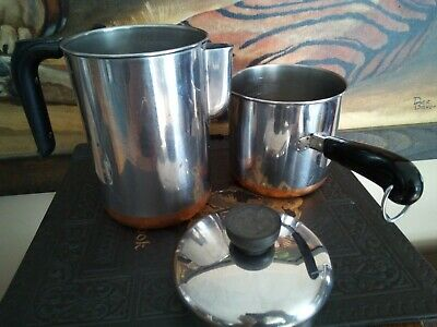 2 Revere Ware 1801 Coffee Pot hot Water & 1 1/2 quart tall pot Stainless copper