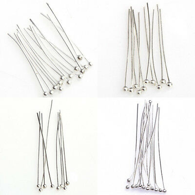 KQ_ 100× Silver Tone Ball End Pins Jewelry Making Findings DIY Crafts Headpins