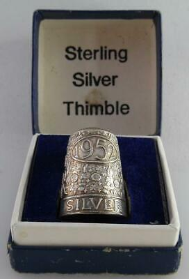 Vintage Silver Thimble - QEII Silver Jubilee 1952 - 1977 - In Original Box (SS62