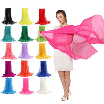 KQ_ Lady Long Soft Silk Chiffon Summer Scarf Beach   Shawl For Women Solid Pr
