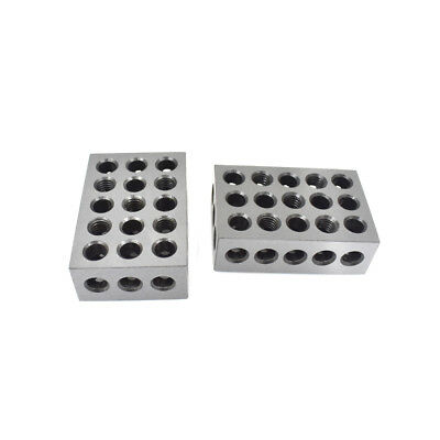 New 1 Pair 123 Blocks 1-2-3 Ultra Precision .0002 Hardened 23 Holes 0.0002""