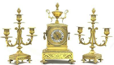 Antique French mantle Clock Stunning Embossed Gilt Brass 8 Day Garniture Set