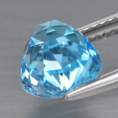 Top! VVS 3.19ct 8mm Round Rose-Cut Natural Sky Blue Topaz, Brazil