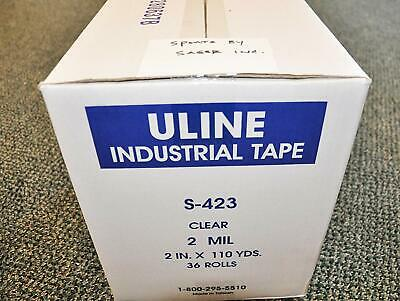 "One (1) Case Of 36 Rolls. Uline S-423 Packing Tape 2"" x 110yds - 2 Mil."
