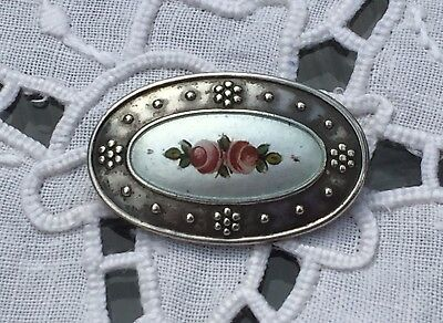 CHARLES HORNER Hand Painted Floral Enamel on Silver BROOCH/Pin. C1915. Exc Cond.