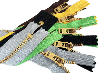 Jeans Zipper YKK ® #5 Brass Closed Bottom 5 Pieces- Available in 7,9 or 11 Inch