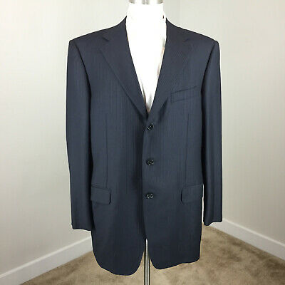 Ermenegildo Zegna 42 L 100% wool Suit Navy blue Tonal Stripe Excellent