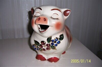 Vintage Large Shawnee Pottery Smiley Pig Piggy Milk Water Pitcher Gold Trim