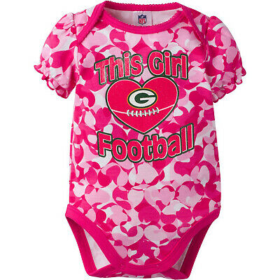 39410727 GERBER NFL GREEN Bay Packers Baby Girl Pink Hearts Camo Print Bodysuit  Onesie