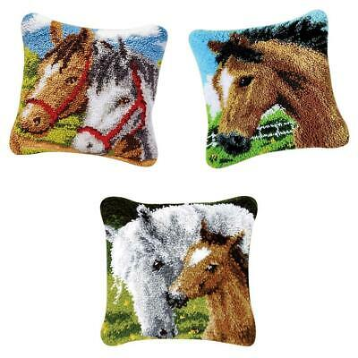 3pcs DIY Rug Making Latch Hooking Kits Pillow Cover Sofa Cushion Gift Horses