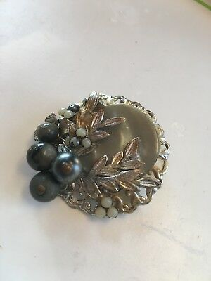 Vintage Grey Mother of Pearl MOP Black Faux Pearl Leaves Brooch Pin Silver Tone