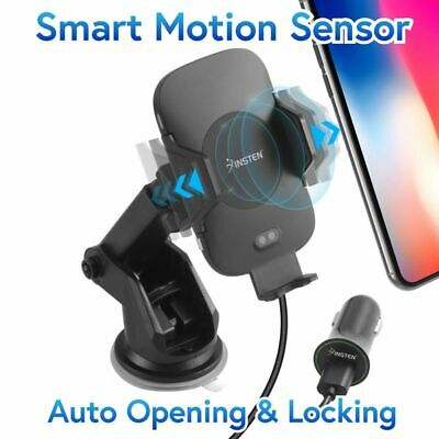 10W For Qi Wireless Charging Auto Open Phone Holder Mount Stand +USB Car Charger