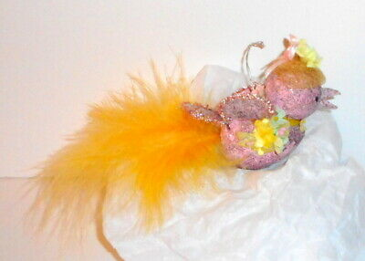 Vtg EASTER ORNAMENT Bird Paper Mache Pink Yellow Feathers Millinery OOAK Japan