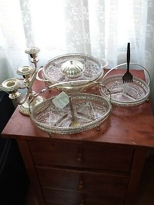 Queen Anne  Made In England Silver Plated Tableware3 Platter  1Candle Holder
