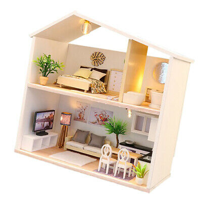 DIY Dollhouse Wooden Miniature Furniture Kit Mini Haus mit LED