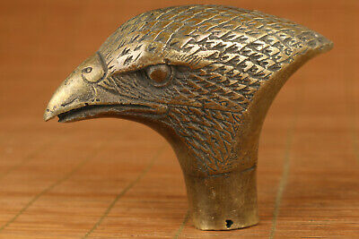 Rare old bronze hand carved eagle statue walking stick head noble gift decoratio