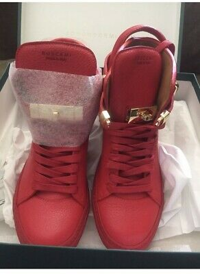 a4cf4c63f86 BUSCEMI 100MM ALTA RED LEATHER WOMEN S HIGH-TOP WEDGE SNEAKERS Sz ...