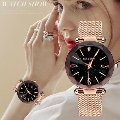 Women Lady Quartz Watches Starry Dial with Frosted PU Leather Band Fashion Gift