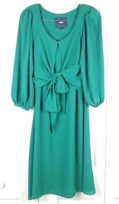 fa15be12a9e45 ANTHROPOLOGIE MAEVE womens size 4 green tie waist 3/4 blouson sleeve dress