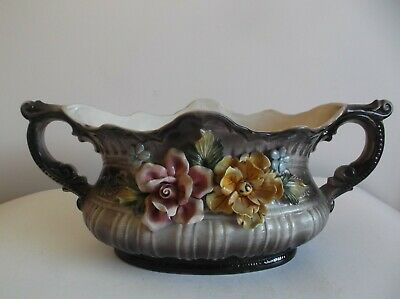 Vintage Capodimonte Applied Flowers Vase Made In Italy