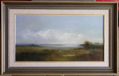 Ken Taber (1942-) Large Original Oil Painting White Egrets At Edge of the Lake