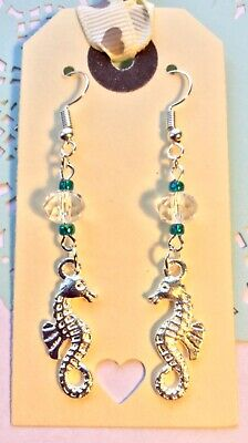 Silver Plate Seahorse Earrings w Crystal & Turquoise Green Beads Ocean Sea Beach