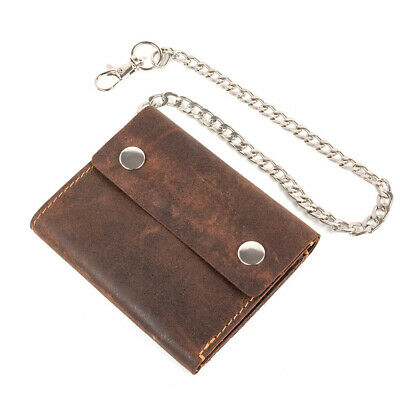 Mens Leather Biker wallet Trifold motorcycle safetychain genuine Brown chain new