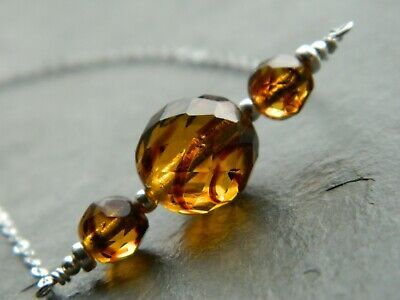 Vintage 1950's Striped Amber Glass Beads & 925 Sterling Silver Handmade Necklace