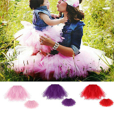2pcs Mother Daughter Matching Dresses Set Net Yarn Princess Skirt Lace Outfits