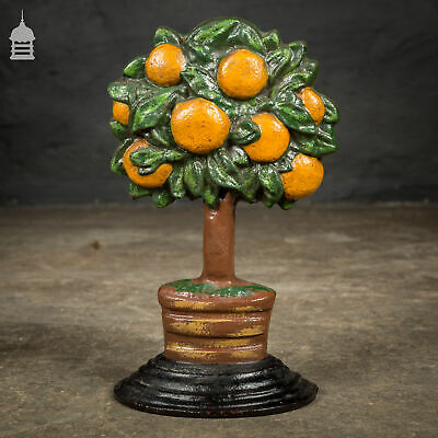 Vintage Painted Cast Iron Orange Tree Door Stop