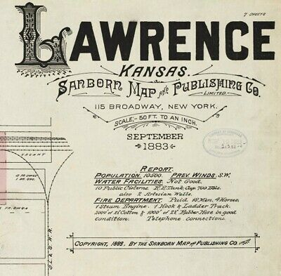 Lawrence, Kansas~Sanborn Map© sheets 1883 to 1897 with 35 maps in color on a CD