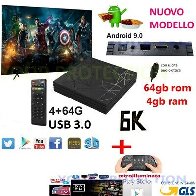 Smart Tv Box Q6 Plus 6K Max 4Gb 64Gb Android 9.0 4K Wi-Fi 4 Core Wifi Tastiera