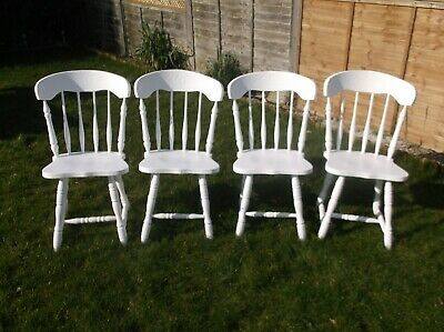 Lovely upcycled pine farmhouse dining chairs Set of 4 Chalk Paint Shabby Chic
