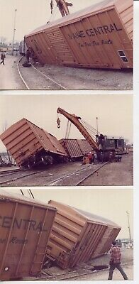 3 1981 Train Wreck Snapshot Photos, Maine Central Railroad, Boxcars