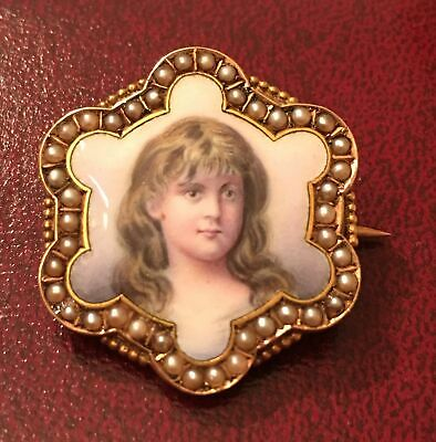 14k Gold Antique Enamel Hand Painted Portrait Brooch Cameo Pearl Victorian Pin