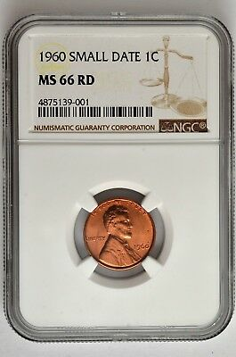 1960 Small Date 1c Lincoln Cent NGC MS 66 RD