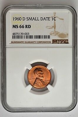 1960 D Small Date 1c Lincoln Cent NGC MS 66 RD