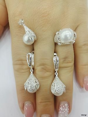 AAA Quality 925 Sterling Silver Jewelry Akoya White Pearl Ladies Full Set