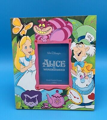 Disney ALICE IN WONDERLAND HAND-PAINTED PICTURE FRAME Cheshire Mad Hatter Rabbit