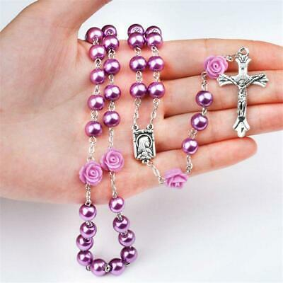 Catholic Purple Pearl Beads Rosary Necklace Our Rose Lourdes Medal Cross Accs 6L