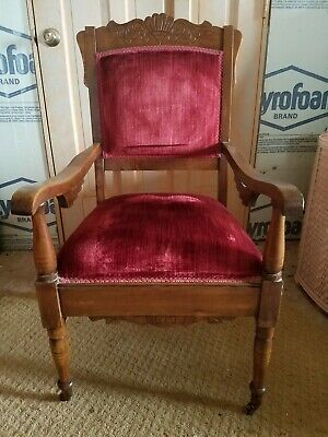 Antique Arm Chair with Red velvet Upholstery