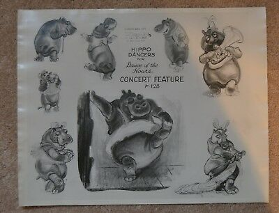 "GREAT!!! 1940 WALT DISNEY FANTASIA HIPPO MODEL SHEET 11"" x 14"" INCH rare"