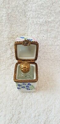 Delightful Limoges France Peint Main Porcelain Box and a Perfume Bottle