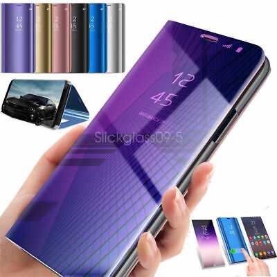 For Samsung Galaxy S10 Plus Smart View Mirror Leather Flip Hard Stand Case Cover